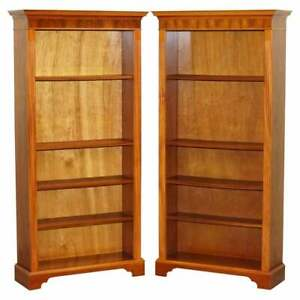 PAIR OF WALNUT BERESFORD & HICKS LIBRARY BOOKCASES HEIGHT ADJUSTABLE SHELVES