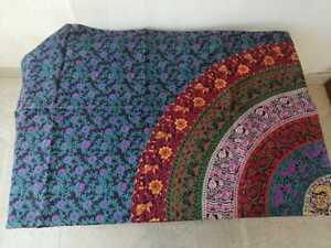 "Purpale Colour Printed Floral Design Mandala Design Cotton Tapestry Size 85""x95"""