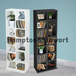 DVD CD Media Storage Cabinet Racks Wooden Shelf Video Bookcase Display