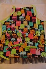 Children's COLORFUL CATS - 2 Oven Mitts & Apron, Handmade, Lined,100% Cotton