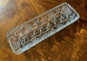Mint! Rare 1940s Australian Crown Crystal Grapevine Design Sandwich Tray