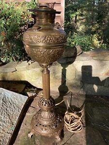 Antique Bradley Hubbard B&H cast iron electrified oil lamp w/Juno Lamp Font
