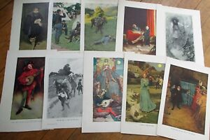 Howard Pyle/Artist-Signed 1900 Book Plates / Prints GROUP OF FIFTY (50) Original