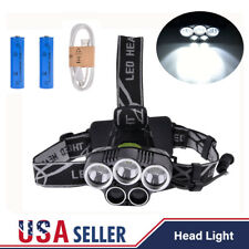 80000LM Zoomable T6 5LED Headlamp Headlight Rechargeable USB Cable 18650 Battery