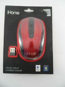 New iHome 6 Buttons Optical Wireless Mouse Red Factory Sealed IH-BL-M380R