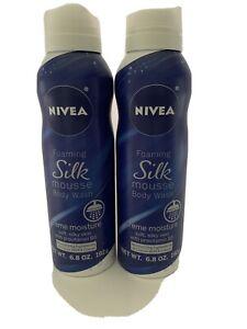 LOT OF 2 Nivea Foaming Silk Mousse Body Wash, Creme Moisture , 6.8 oz