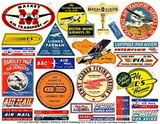 AIRLINE LUGGAGE STICKERS, 1 Sheet, 25 Travel Label REPRODUCTIONS, Airplane Art