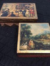 Set Of 2 FLORENTINE TOLEWARE GOLD PAINTED ITALY WOOD Trinket BOX HWD REGENCY