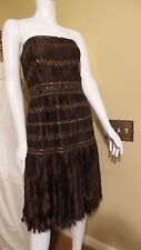 SALE*MELINDA ENG COPPER BROWN FRINGE CORSET STRAPLESS COCKTAIL DRESS Sz 12 $2950