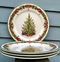 4 Christopher Radko Traditions HOLIDAY CELEBRATIONS Christmas Tree Dinner Plates