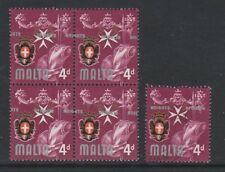 "Malta - 1965/70, 4d stamp - Block of 4 - With KNIGHTS OF MALTA""  Misplaced - MNH"