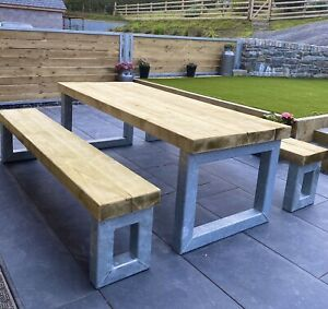 Bespoke  Metal &  Sleeper Outside Table And Benches /Garden Furniture