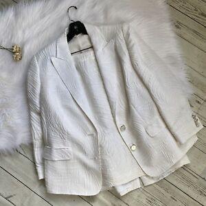 Escada Suit 46 Womens White Off White 2 Pc Silk Blend GUC Large XL Skirt Blazer
