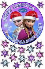 Disney Frozen Princess Elsa Anna Snowflakes Round Icing Christmas Cake Toppers