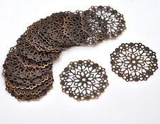 30 Hot Copper Tone Filigree Flower Wraps Connectors 50mm