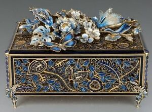 NEW Jay Strongwater Genevieve Grand Floral Chest Box Indigo Blue SIGNED