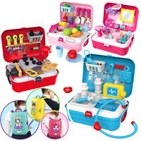 Doctor Playset for Kids Boys Girls Role Play Tool Kitchen Fashion Set Carry Case