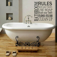Removable Bathroom Rules Quote Words Vinyl Wall Paper Decal Art Sticker X1121