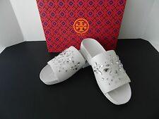 58ecc7488bbf67 Tory Burch Brae Slide Leather Crystal Embellished Flat Sandal White Sz 9