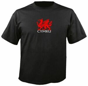 WALES CYMRU BLACK T SHIRT, welsh flag red dragon rugby y ddraig goch