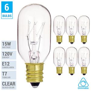 6 Pack 15T7C T7 15W Exit Sign Salt Lamp Appliance Bulb Sign Candelabra E12 Clear