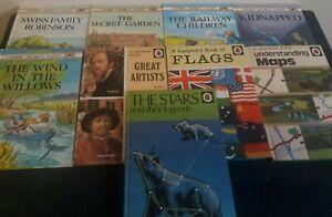 JOB LOT VINTAGE LADYBIRD BOOKS X9 THE STARS, FLAGS MAPS, CHILDRENS CLASSICS..