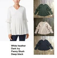 Style&Co Ruffled Long Sleeve Pleated V Neck Pullover Sweater Womans XS M L XL