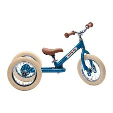 Trybike 2 in 1 Steel Tricycle Balance Bike Blue Vintage Chrome Parts Cream Tyres