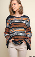 UMGEE Striped Round Neck Pullover Sweater with Long Bell Sleeves NWT S-M-L