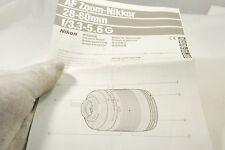 AF Zoom-Nikkor 28-80mm f3.3-5.6 G Instruction Manual 7219105
