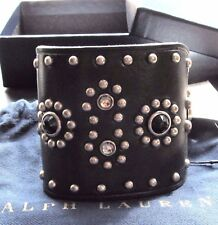 RALPH LAUREN COLLECTION LEATHER STONE STUDDED CUFF BRACELET NWT