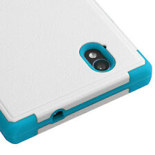 FOR ZTE WARP ELITE N9518 WHITE TEAL NATURAL TUFF IMPACT CASE COVER