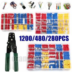 1200Pcs Insulated Assortment Electrical Wire Connectors Crimp Terminals Case Kit