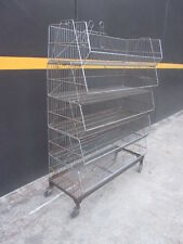 5 x WIRE BASKET DISPLAY RACK. MOBILE ON CASTORS