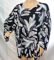 Southern Lady Women Plus Size 1x 2x 3x Black Gray Feather Tunic Top Blouse Shirt