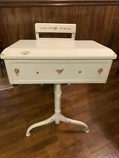Vintage Child's School Desk Attached Chair Wood & Metal White W/Flowers Decals