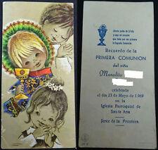 ESTAMPA PRIMERA COMUNION PARROQUIA SANTA ANA JEREZ 1969 HOLY CARD SANTINI CC1277