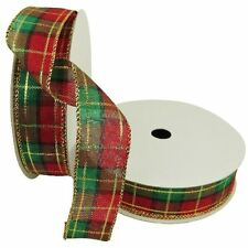 "50 Yards! Christmas Plaid Red Green  Wired Ribbon 1.5"" Wide Wholesale Lot Bulk"