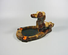 KOMLOS BROTHERS, ART DECO ASHTRAY WITH DACHSHUND DOG , CERAMIC ART POTTERY !