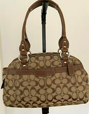 COACH  In Signature Canvas With Leather Handles Four Compartments Shoulder Bag