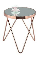 PUCCINI Mirrored/Glass Round Side/Coffee/End/Lamp Table(Copper/Mirror)-ST15MR