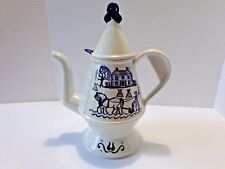 Vintage Metlox USA Provincial Blue Poppyt Tall Coffee Tea Pot w/ Lid Horse Buggy