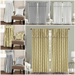 Luxury MAYA Curtains Pairs Fully Lined Pencil Pleat Luxury Jacquard Ready-Made