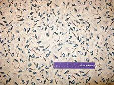 James Meger Silent Flight Owl Feather Bird Cream Cotton Fabric BY THE HALF YARD