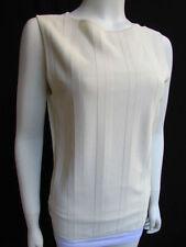nuevo Valentino Mujer Básico Crema Blanco Roto Viscosa Top Con Cuello Redondo