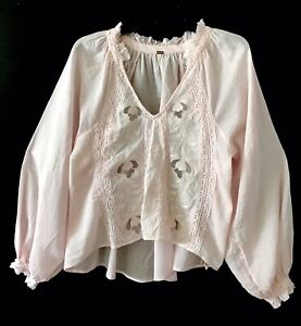 Free People Sivan Pale Pink Embroidered Sheer Tunic Top Small New