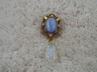 """1928"" Goldtone Blue Cat's Eye & Opalite Glass Drop Bead Pin (C66)"