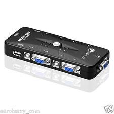 KVM Switch Box 4 Port USB 2.0  für bis zu 4 Computer VGA,Tastatur, Maus, Monitor