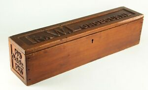 ~Antique 1918 Large Glove Box Carved Wood New England Sailor Made Nautical Named