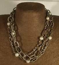 Vintage Silver & White 3 Strand Necklace 1990's